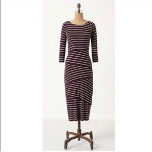ANTHRO Bailey 44 3/4 sleeve knit diag stripe dress